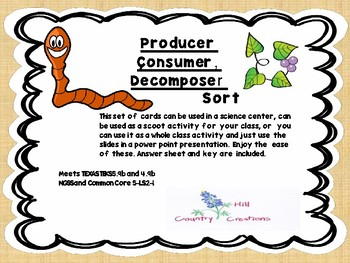 Producer, Consumer, Decomposer Scoot and Sort