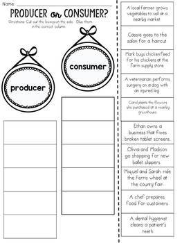 Producer or Consumer? Cut and Paste Sorting Activity