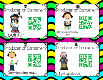 Producer or Consumer QR Code Self Checking Task Cards