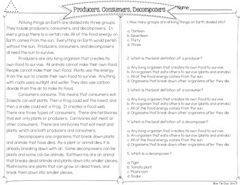 Producers, Consumers, & Decomposers {Differentiated Close Reading Passages}
