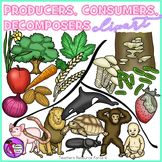 Producers, Consumers & Decomposers clip art