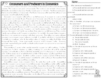 Producers & Consumers in Economics Differentiated Leveled Text Reading Passages