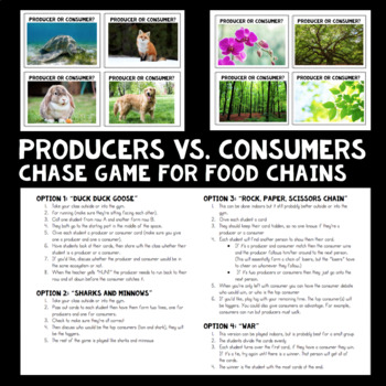Producers vs. Consumers Chase Game for Food Chains