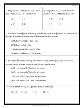 Multiplication as Scaling Quiz, 5.NF.5 Assessment, 2 Versions!