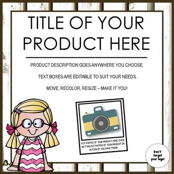 Product Covers for Your TpT products - SQUARE - EDITABLE - FENCES THEME
