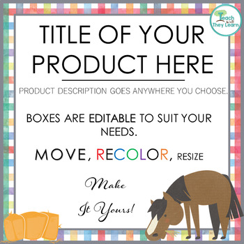 Product Covers for Your TpT products - SQUARE - EDITABLE - GINGHAM FARM ANIMALS