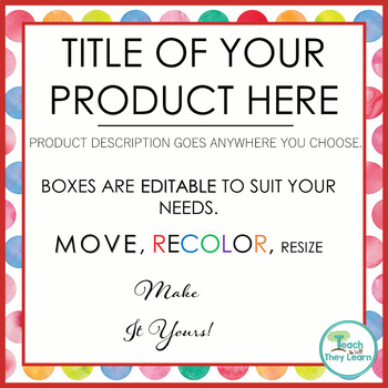 Product Covers for Your TpT products - SQUARE - EDITABLE - Polka Dot