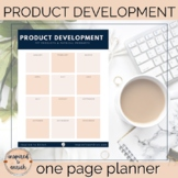 Product Development One Page to Plan Your Resources