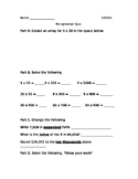 Product Estimation and Place Value Quiz