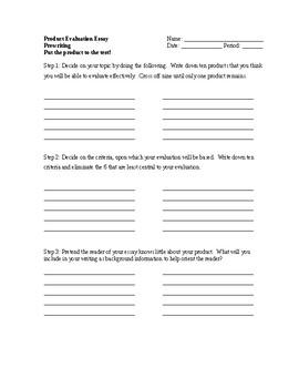 Product Evaluation Essay Prewriting By Everything Englilish  Tpt Product Evaluation Essay Prewriting Essay Paper Help also Business Essays  High School Senior Essay
