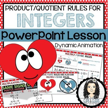 Product & Quotient Integer Rules PowerPoint Lesson