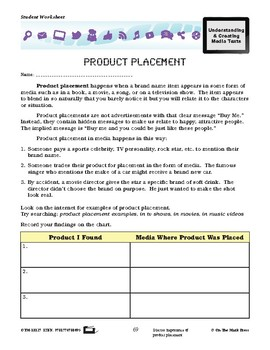 Product Placement Lesson Plan Grades 4-6 - Aligned to Common Core