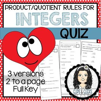 Product / Quotient Integer Sign Rules Assessment Quiz