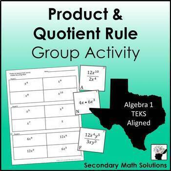 Exponents - Product & Quotient Rule Activity