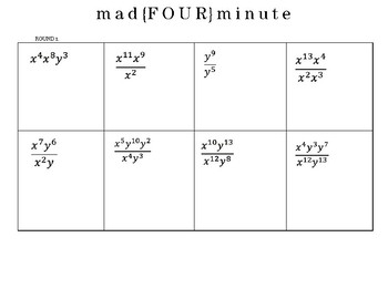 Product & Quotient Rule Mad Minute