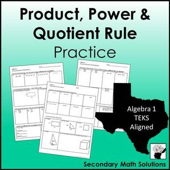 Exponents - Product, Power & Quotient Rule Practice