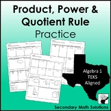 Exponents - Product, Power & Quotient Rule Practice (A11B)