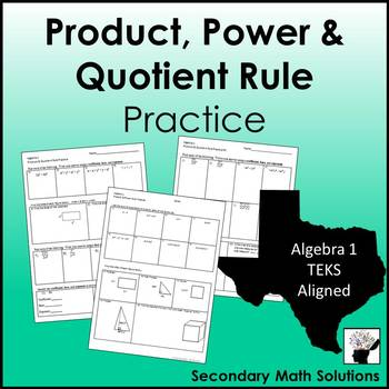 exponents product and quotient rule worksheet answer key
