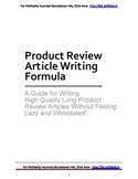 Product Review Article Writing Method