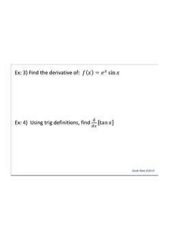 Product Rule, Quotient Rule, & Chain Rule Notes