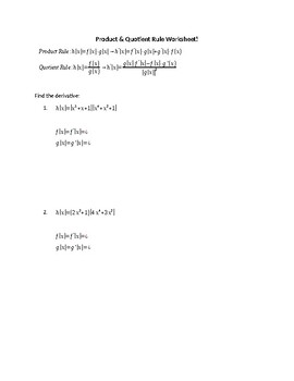 Product Rule and Quotient Rule of Differentiation