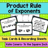 Product Rule of Exponents Task Cards