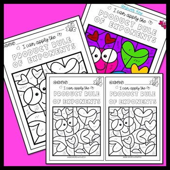 Product Rule of Exponents Valentine's Day Coloring Activity Worksheet