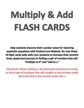 Product Sum Factoring - FLASH CARDS