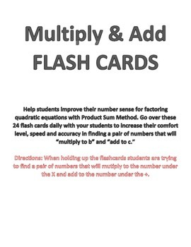 Product Sum Factoring - FLASH CARDS