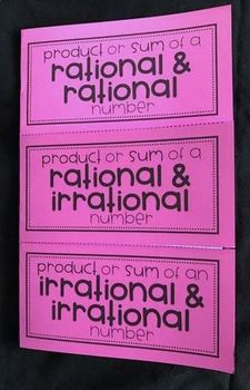 Product & Sum of Rational & Irrational Numbers (Algebra Foldable)