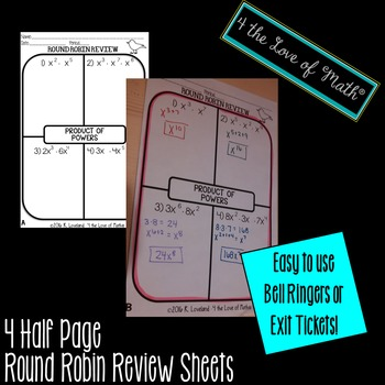 Product of Powers Exponent Rule Round Robin Bell Ringer/Exit Tickets