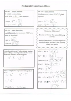 Product of Powers Guided Notes