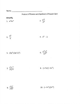Product of Powers and Quotient of Powers Ticket and Assessment