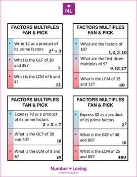 Product of Primes, GCF, LCM (Fan and Pick Cooperative Learning Cards)