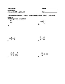 Product or Quotient Quiz for Pre-Algebra using Fractions