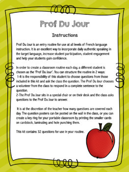 Prof Du Jour - an entry routine for the French classroom