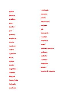 Profesiones (Professions in Spanish) word scramble