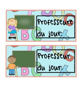 Professeur(e) du jour flashcard (French)