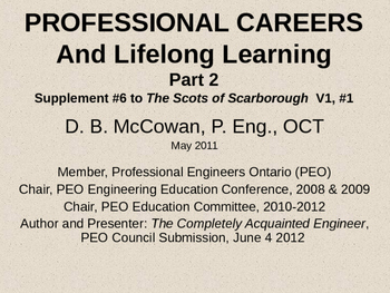 Professional Careers and Lifelong Learning