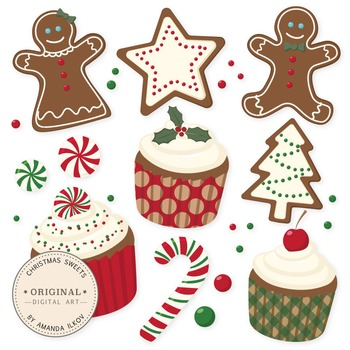 Professional Christmas Cookies and Cupcakes Clipart & Vector Set - Gingerbread