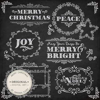 Professional Christmas Messages Clipart & Vector Set - Christmas Chalkboard