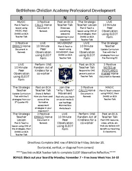 Professional Development BINGO