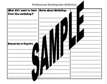Professional Development Deep Reflection Graphic Organizer Journal