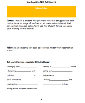 Professional Development: Implementing Self-Control in Your Classroom or School