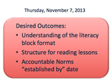 Professional Development: Literacy Block Components
