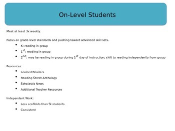 Professional Development: On-Level and Advanced Reading Groups