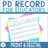 Professional Development Record Log for Teachers {FREEBIE}