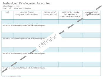 Professional Development Record Log for Teachers {FREEBIE}