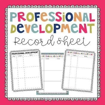 Professional Development Record Sheet