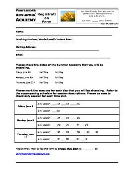 Professional Development Registration Form